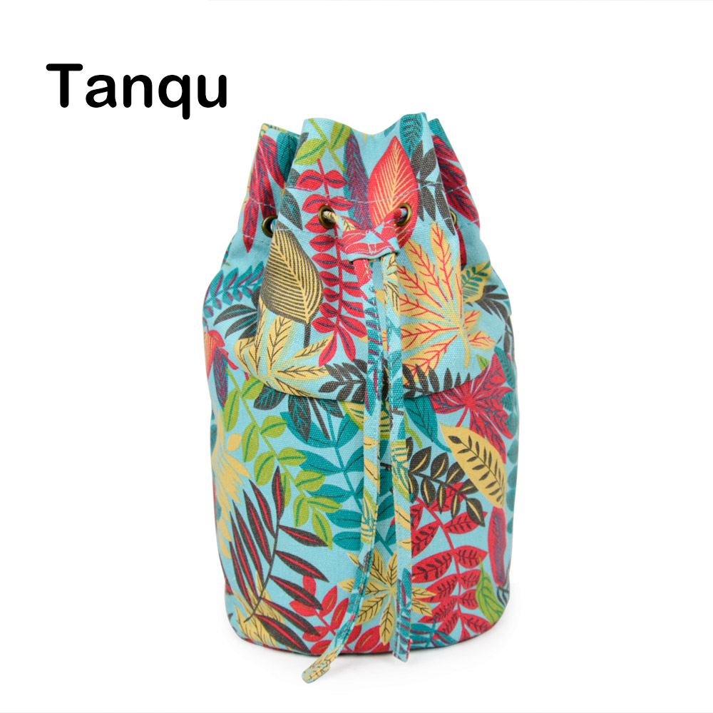 Tanqu New Floral Drawstring with Buckle Canvas Fabric Inner Pocket Lining for Obasket Obag Handbag Insert for O Basket O Bag new colorful cartoon floral insert lining for o chic ochic canvas waterproof inner pocket for obag women handbag