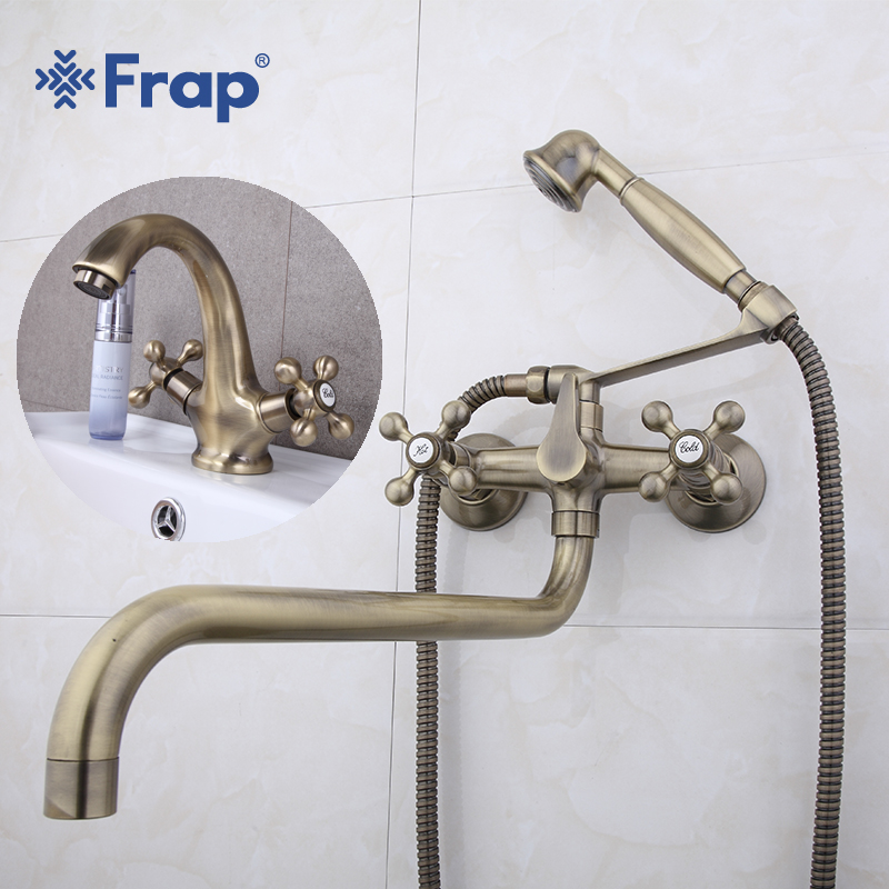 Frap Bathroom Double Handle Shower Faucet and Bronze Brushed Sink Hot and Cold Water Basin Faucet