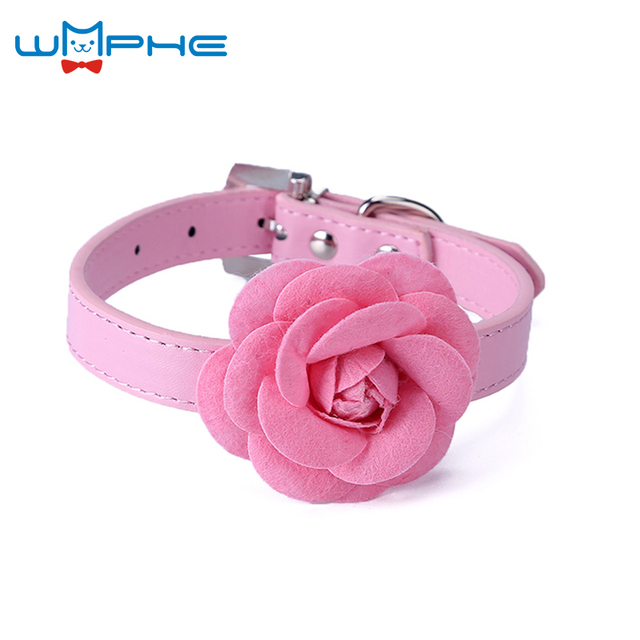 4 Color Flower Cat Dog Collar Necklace Pu Leather Dog Pet Puppy