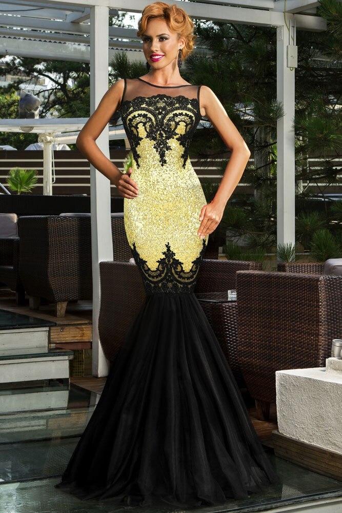 Vert/argent/or/noir/violet Sequin appliqué longue robe pure Top femmes formelle sirène fête formelle robe robes Longo 60633 - 5