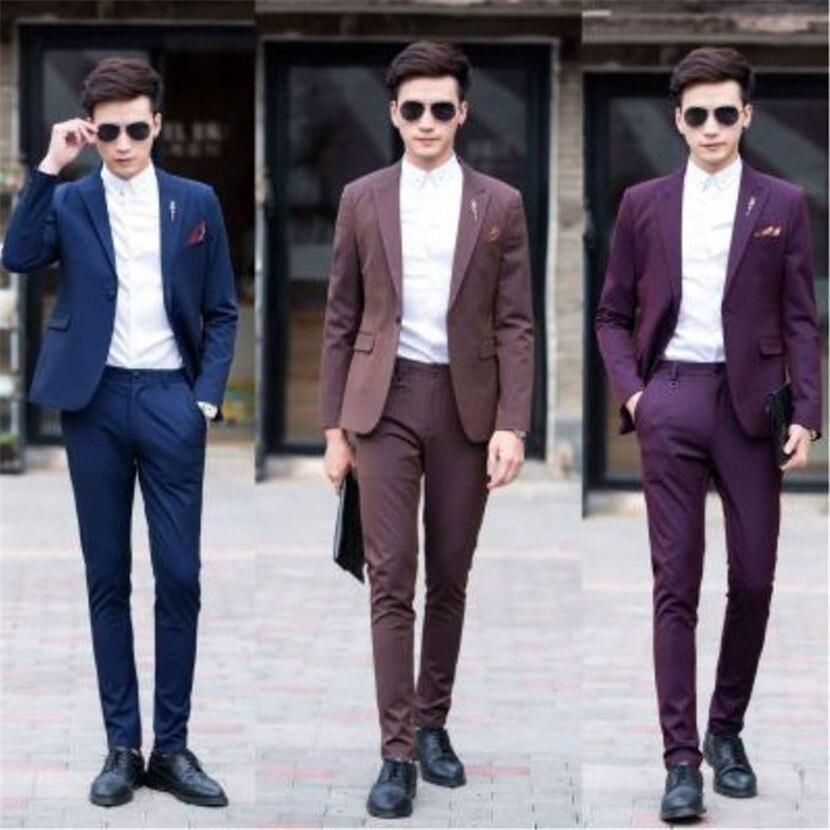 Dress 2 Piece Set Custom Blue Jacket With White Pants 2018 Groom Trend Slim Men's Suit Party Fashion Dress Jacket
