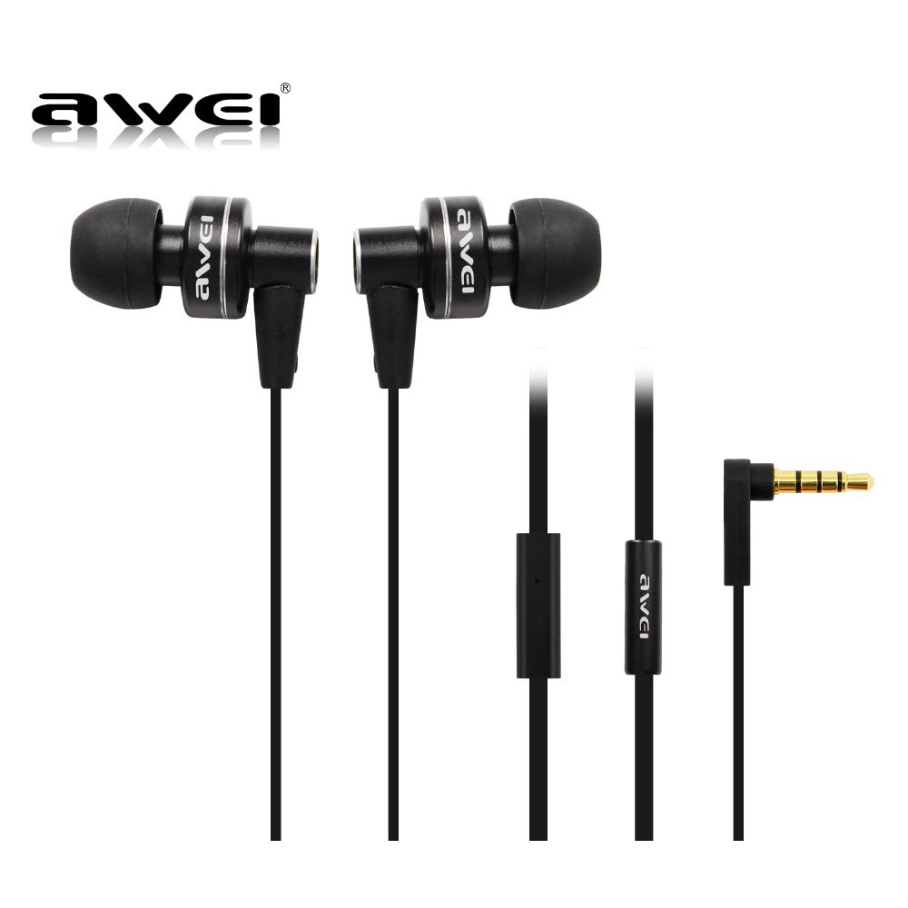 Awei Headset Headphone In-ear Earphone For Your In Ear Phone Bud iPhone Samsung Player Smartphone Earpiece Earbud Microphone Mic awei blutooth sport headset earbud in ear cordless wireless headphone auriculares bluetooth earphone for your in ear phone buds