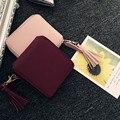Couro do PLUTÔNIO das mulheres Carteira Pequena com Zíper Titular do Cartão Bolsa Da Moeda Da Embreagem Bolsa Roxo Frete Grátis