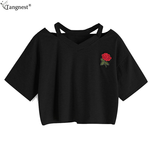 9521a65cd3 US $11.99  TANGNEST Womens Tee Shirts Summer 2017 Women Clothing Cut Out  Choker Crop Tops V Neck Rose Appliques Sexy Short T shirts WTS1296-in ...