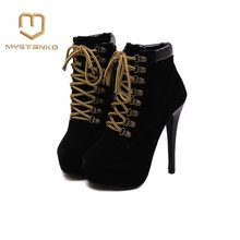 Super high heels fine cross straps with Martin boots high quality lace european women's shoes boots Item No. GGX-023(China)