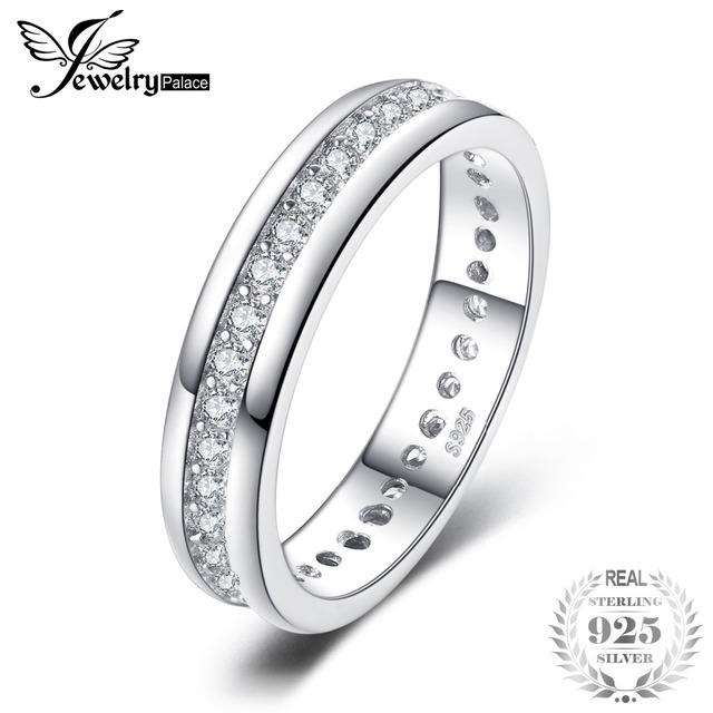 JewelryPalace Cubic Zirconia Wedding Band Channel Eternity Ring Pure 925 Sterlin