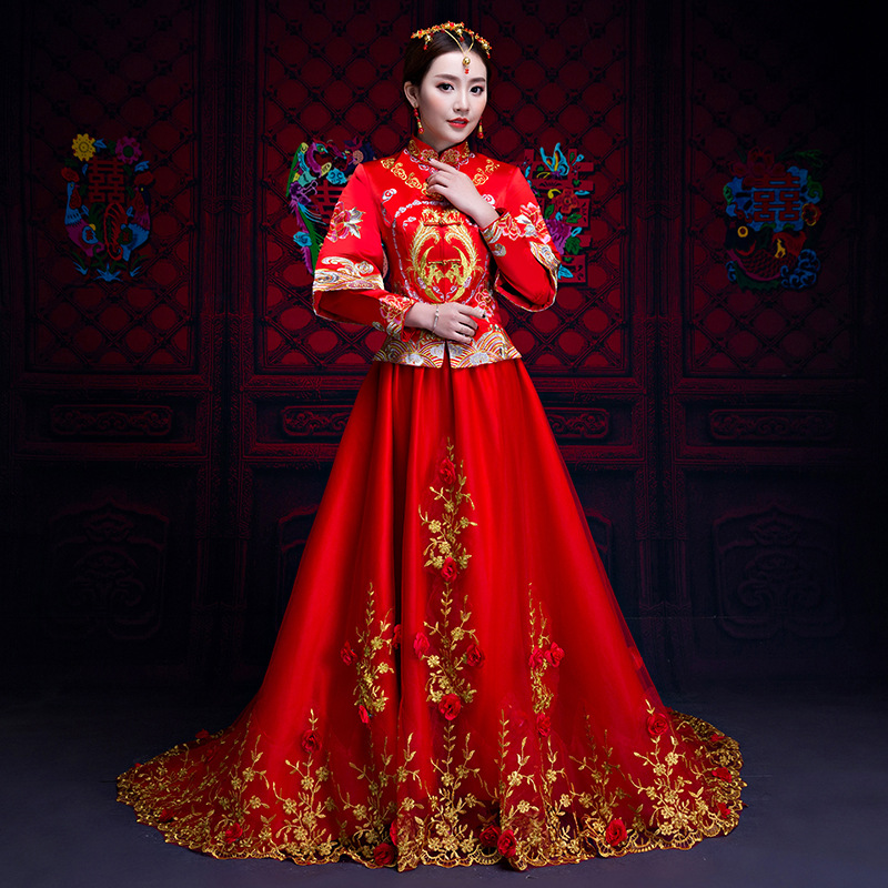 Fashion Red Women Phoenix Embroidery Cheongsam Long Qipao Chinese Traditional Wedding Dress Oriental Style Dresses все цены