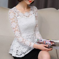 New Summer Tops 2016 Black White Lace Blouse Women Slim Long Sleeve Shirt Female Blusas Vintage