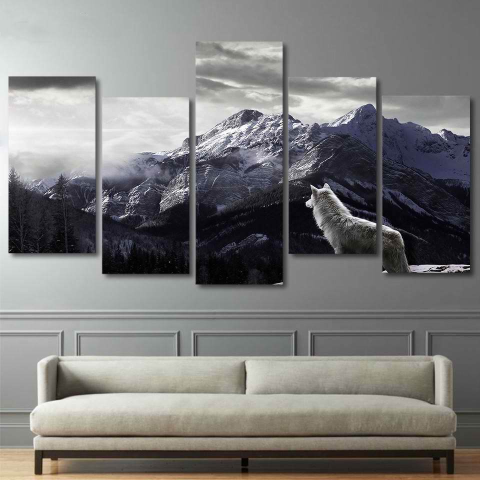 HD Prints Canvas Wall Art Living Room Home Decor Pictures 5 Pieces Snow Mountain Plateau Wolf Paintings Animal Posters Framework