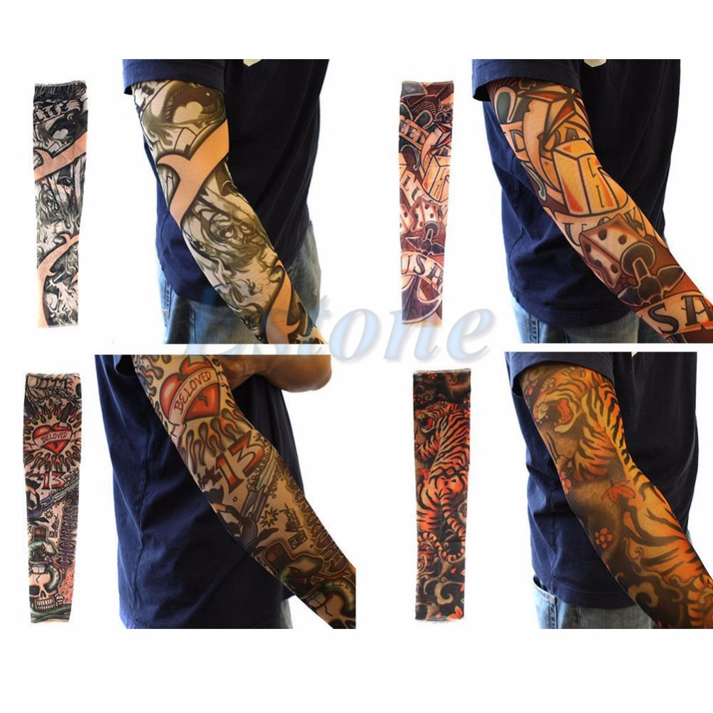 New 10pcs Fake Tattoo Slip On Sleeves Body Art Arm Covers Stockings Temporary Party