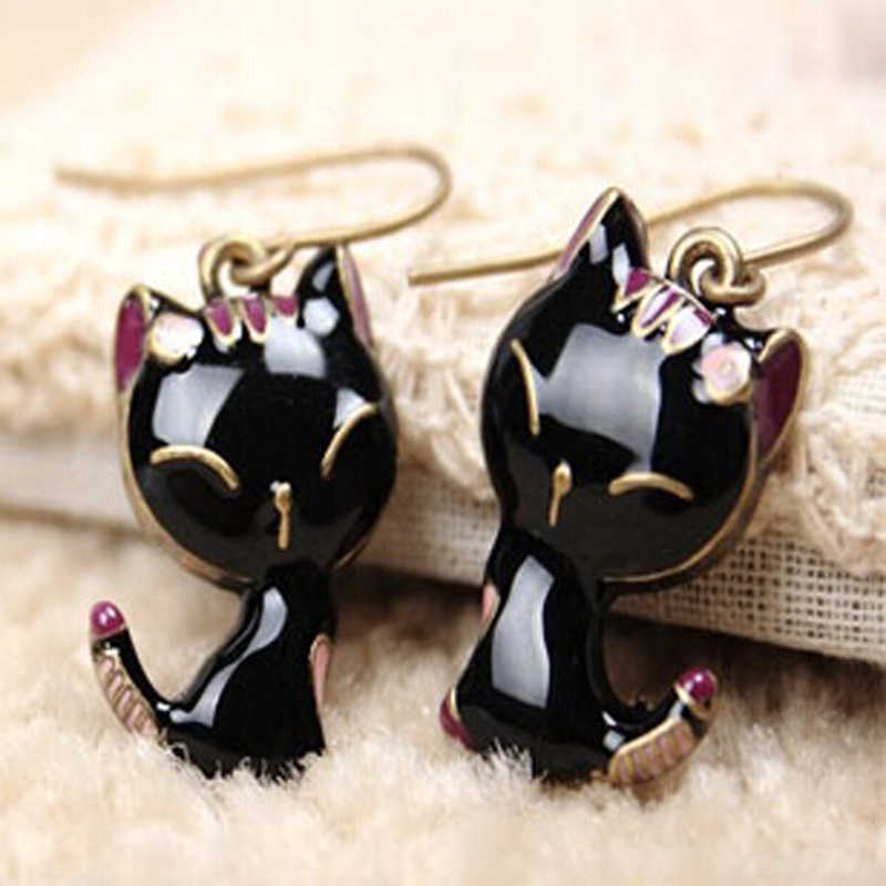 2016 New Arrival Black Kitty Cat Cute Stud Earrings for Women Girl Bronze Color Gift ne421