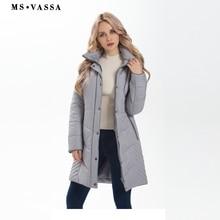 MS VASSA Mulheres Jacket 2017 Nova Outono Senhoras longos casacos de Inverno Parkas capuz removível com pele falsa plus size outerwear 5XL 7XL