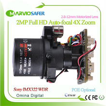 2-мегапиксельная full hd 1080 P sony imx322 ip сетевая купольная cctv камера PTZ Модуль 4-КРАТНЫЙ Зум с 2.8-12 мм моторизованный объектив с Аудио, wi-fi