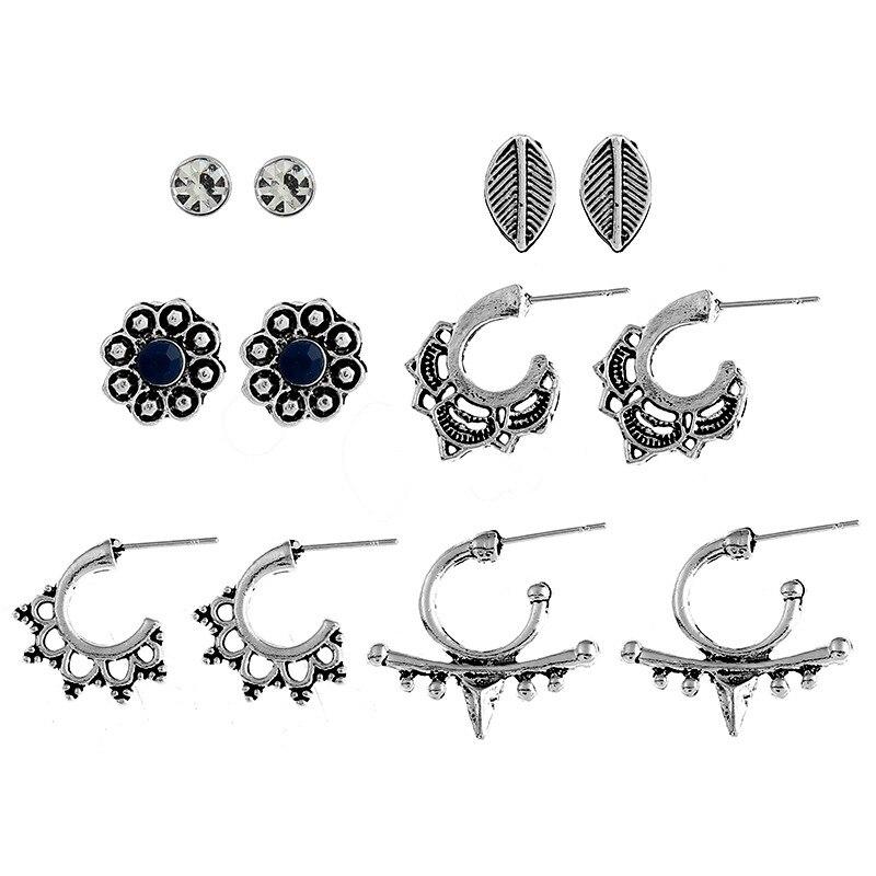 H:HYDE 6 Pairs/lot Womens Classic Vintage Boho Stud Earrings for Women Men Unisex Trendy Fashion Plant Retro Leaf Earring 2018