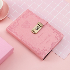 Image 3 - A5 password lock notebook 4 colors retro gold lock girl thickening personal diary book with lock office password book custom
