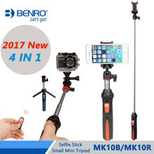 Benro Selfie Stick MK10B/MK10R 4 in 1 Extendable Selfie Stick Small Mini Tripod For Selfie Bluetooth Remote For IPhone GoPro
