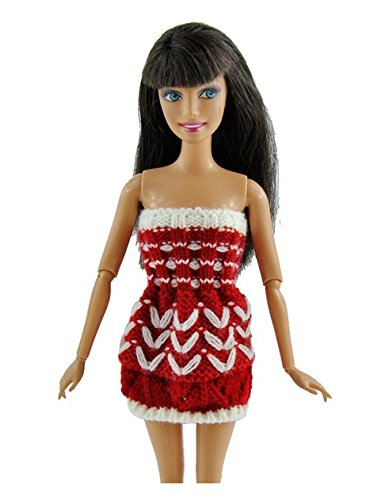 Handmade Mini Costume Sweater Informal Put on Garments For Barbie Doll Crimson with White Colour( With out Hat)
