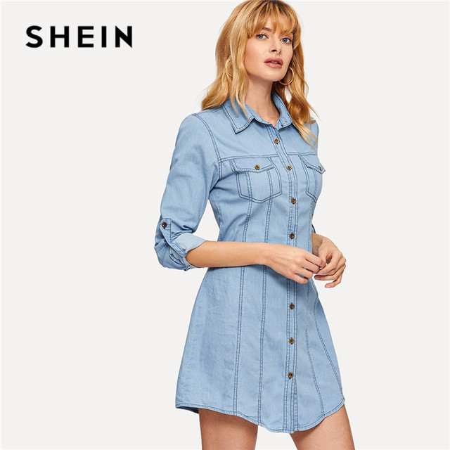 b6d84d7e289 SHEIN Blue Roll Tab Sleeve Denim Shirt Mini Dress Spring Summer Casual Pocket  Button Front Long Sleeve Streetwear Women Dress
