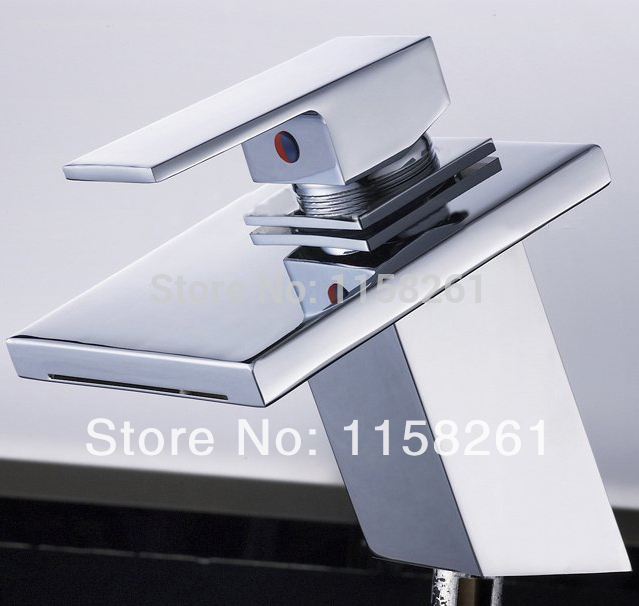 Modern Bathroom Basin Faucets High Arch Brass Polished Chrome Faucet Square Waterfall Sink Taps Deck Mounted Water Mixer Tap free shipping polished chrome solid brass material bathroom sink waterfall square faucet