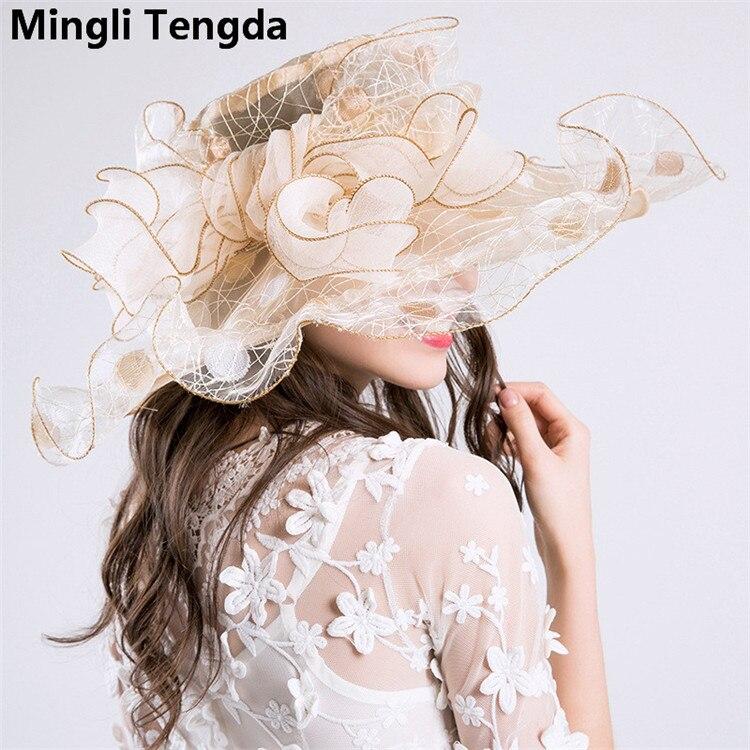 Новинка, Свадебные шляпы из органзы для женщин, элегантные вуалетки, Свадебные шляпы с цветами и шляпки с бантом, свадебные аксессуары mingli Tengda - Цвет: Ivory