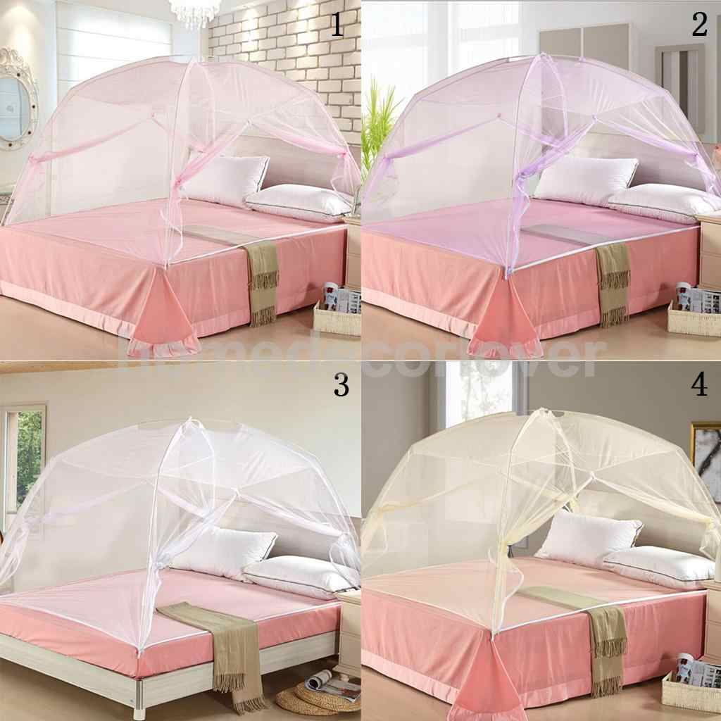 Folding Freestand Bed Canopy Mosquito Net Tent For Single/Queen/King Bed Size