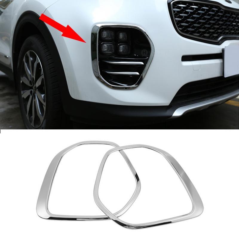 1 пара, Серебристый Хром, передний противотуманный светильник, крышка лампы, накладка, рамка для Kia Sportage KX5 QL 2015 2016 2017 2018, автомобильный Стайли...