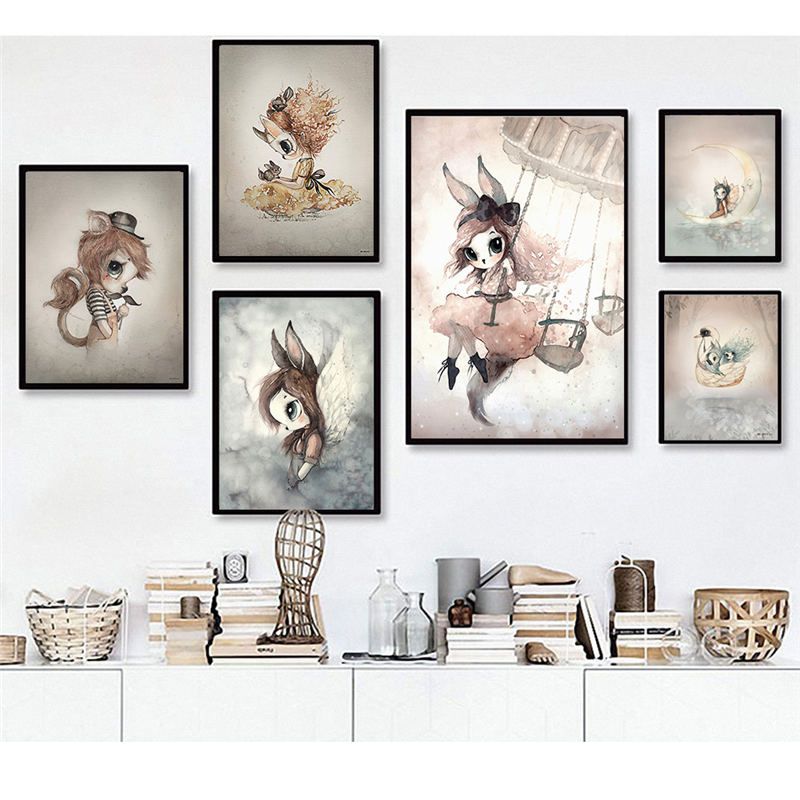 Boys Picture Poster Painting Decor Watercolor Wall-Art Bedroom Print Nordic Canvas Rabbit