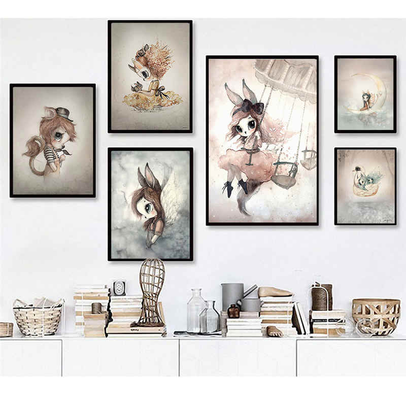 Sweet Home Decor Nordic Canvas Painting Wall Art Poster Rabbit Girls Boys Picture Cartoon Watercolor Decor Print for Kid Bedroom