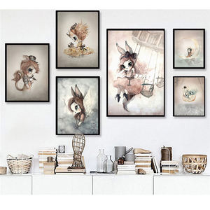 Sweet Home Decor Nordic Canvas Painting Wall Art Poster Rabbit Girls Boys Picture Cartoon Watercolor Decor Print for Kid Bedroom(China)