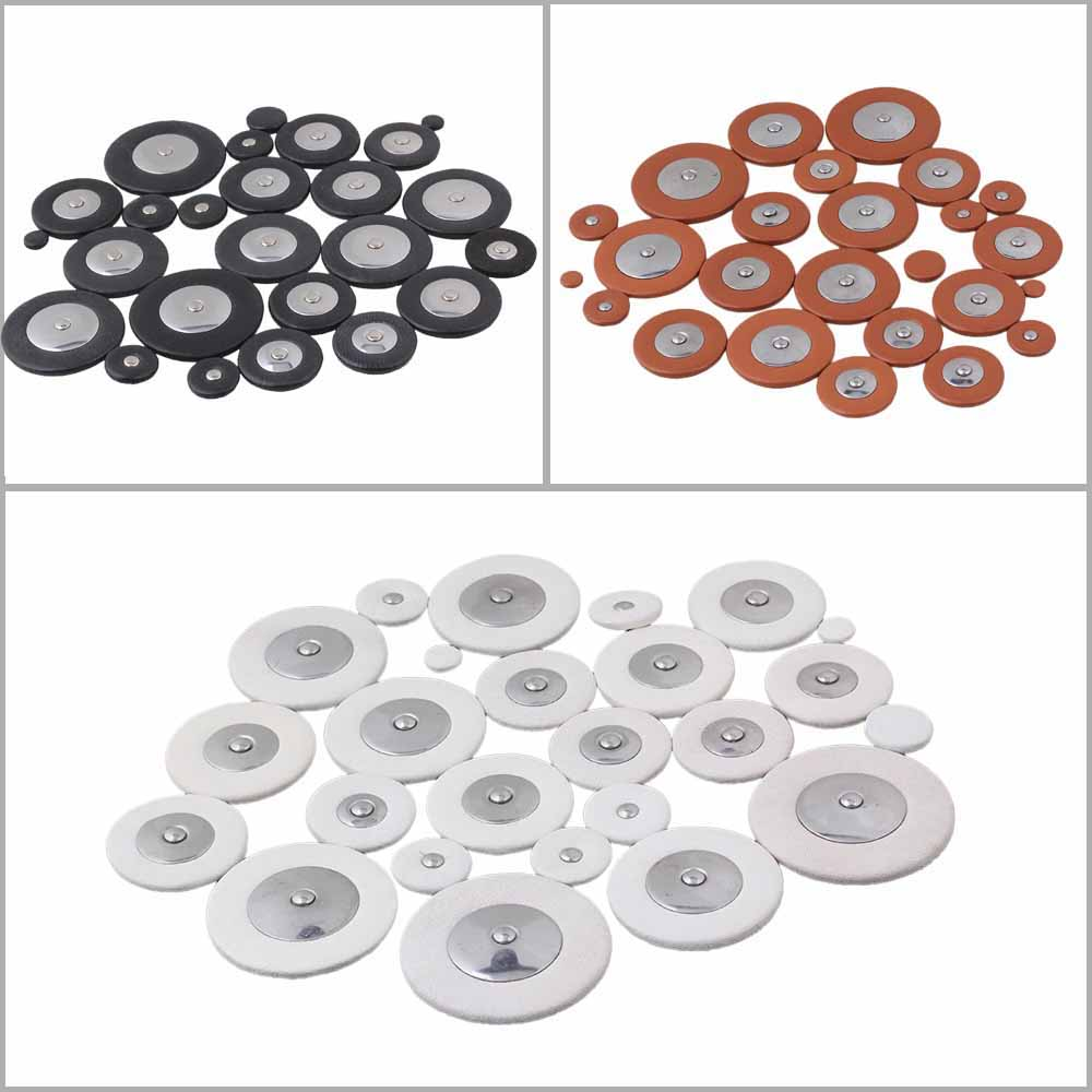 Set Of 25 Tenor Saxophone Woodwind Leather Pads 3 Colors Orange Black  White