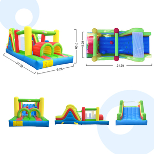 Image 2 - Inflatable Bounce House Obstacle Course Double Slides 6.4x2.8x2.5m Inflatable Trampoline Funny Bouncy Castle Christmas Gift
