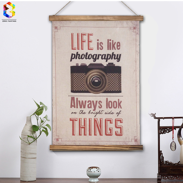 Vintage Life Quotes Linen Painting Wooden Framed Home Decor Wall Art ...