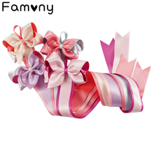 New Satin Ribbon Handmade Girls Hairclips Storage Tape Cute Bows Long Hair Holder Children Boutique Hairpins Hanger