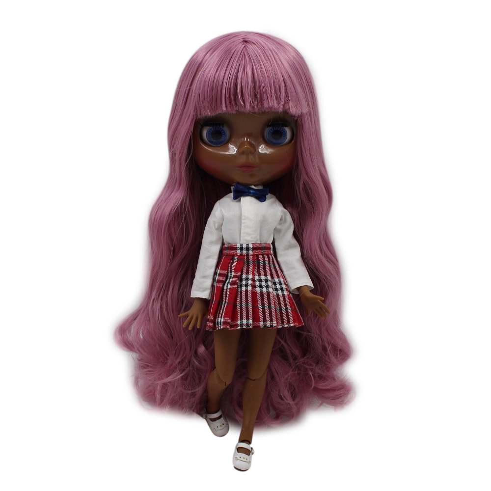 fortune days factory blyth doll super black skin tone darkest ultra skin pink hair joint body