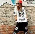 2015 Summer Hip Hop Estrella Camisetas de Algodón Hip-Hop Roca de Cobertura de Manga Corta Mujer T-shirt Camiseta Del Verano