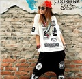 2015 Summer Hip Hop Star T Shirts Cotton Hip-hop Hedging Rock Short Sleeve Woman T-shirt Summer T-shirt