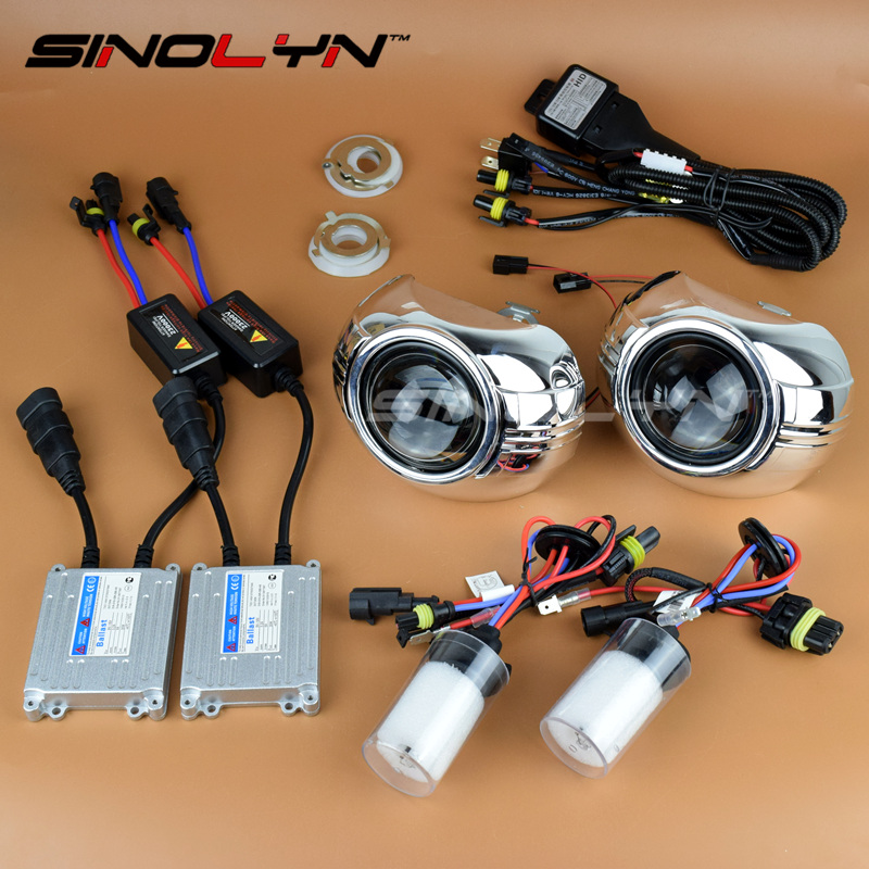 SINOLYN 2.5'' Mini Bi xenon HID Headlight Lens Projector Retrofit Kit W/WO Angel Eyes Halo H1 H4 H7 For Car Tuning Headlamp DIY royalin car styling hid h1 bi xenon headlight projector lens 3 0 inch full metal w 360 devil eyes red blue for h4 h7 auto light