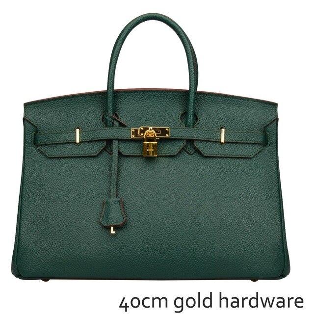 bec340dc95 Ainifeel Women s Padlock Genuine Leather 40CM Handbags With Gold Hardware