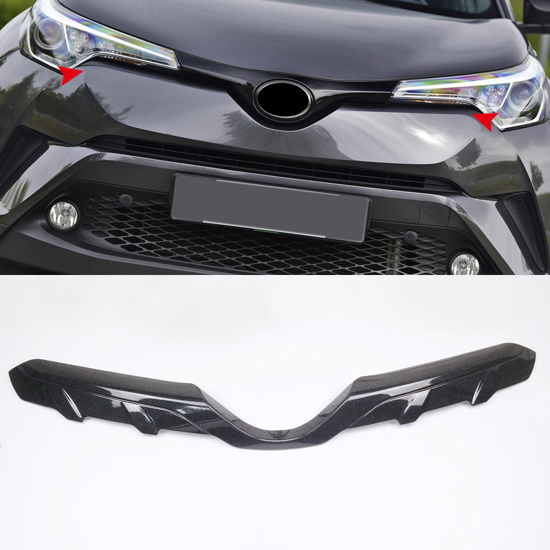 For Toyota C-HR 2016-2018 Exterior Front Central Grill Grille Molding Trim 1pcs Carbon Fiber Style Car-styling accessories accessories for chevrolet camaro 2016 2017 abs carbon fiber style the co pilot central control strip molding cover kit trim page 2