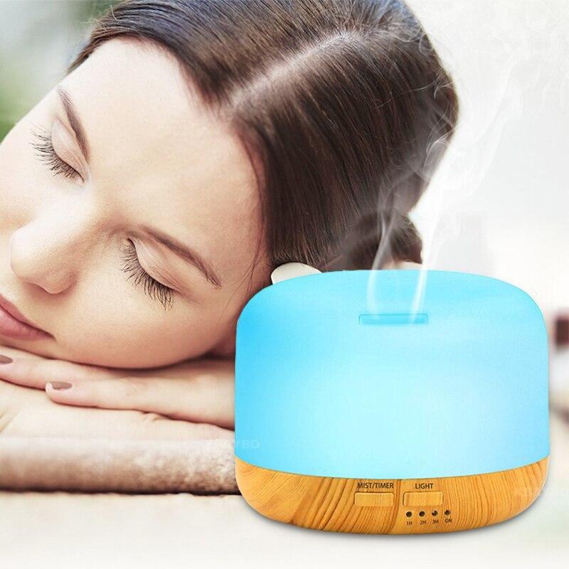 300 ml Luftbefeuchter Aroma Lampe Aromatherapie Elektrische Aroma Diffusor Holzmaserung Ätherisches Öl Diffusor mit 7 Farbe LED Licht