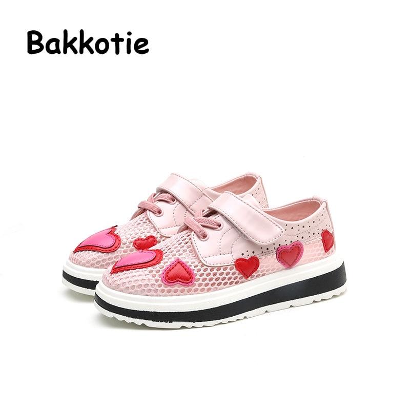 Bakkotie 2017 New Fashion Spring Autumn Baby Casual Princess Shoe Leisure Breathable kid Brand Cute Girl Heart Platform Children
