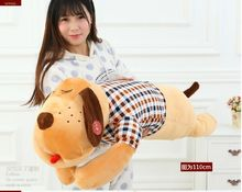 big new creative plush lovely brown dog pillow cute check cloth dog doll gift about 110cm