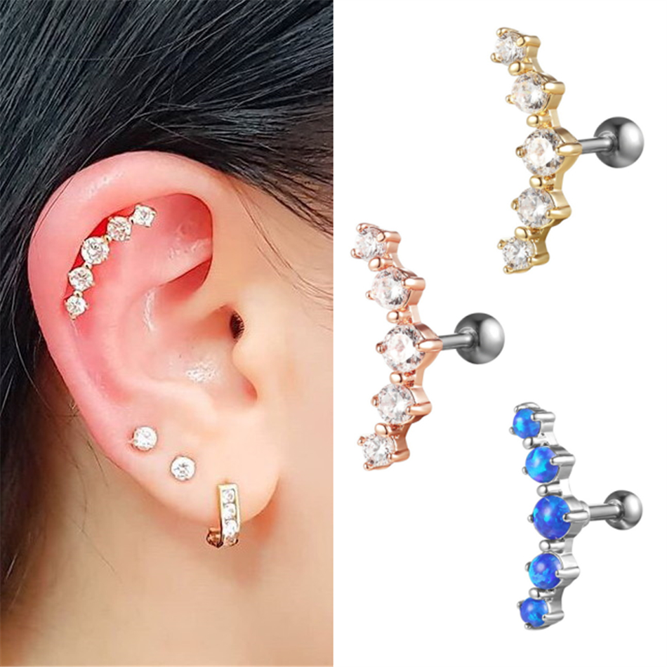 G23titan Crystal Ear Cartilage Piercing Earrings 16g Titanium Ear Helix Stud Rings Body Jewelry Oorbellen Voor Vrouwen