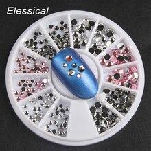 Беззеркальные разноцветные акриловые стразы смешанного размера, Стразы для ногтей, подвески для ногтей, колеса, набор 3D, сделай сам, украшения для ногтей WY1006