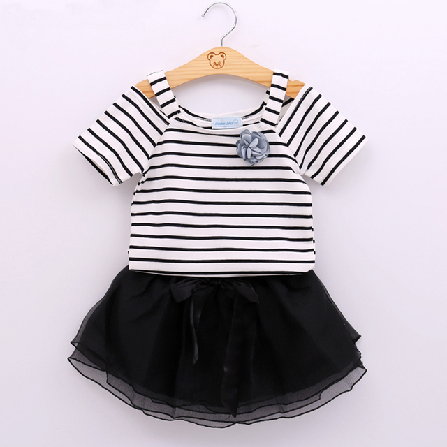 99fbae405 Summer New Baby Girls Clothes Stripped Vest T-Shirt Top+Black Skirt Girl  Dress
