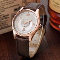 Fashion Watch Color Black White Brown Leather Round Dial Buckle Watch Men S Luxury Business Quality