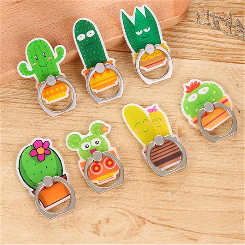 *UVR 360 Degree Cactus Aloe Potted Plant Finger Ring Smartphone Stand Holder Mobile Phone Snowman Holder For Iphone All Phone