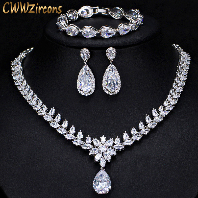 CWWZircons Elegant Women Wedding Jewellery African CZ Crystal Leaf Drop Bridal Necklace Bracelet And Earrings Jewelry Sets T294 a suit of elegant rhinestone maple leaf necklace and earrings for women