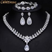 CWWZircons Elegant Women Wedding Jewellery African CZ Crystal Leaf Drop Bridal Necklace Bracelet and Earrings Jewelry Sets T294