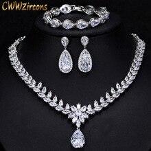 CWWZircons Elegante Vrouwen Bruiloft Sieraden Afrikaanse CZ Crystal Leaf Drop Bruids Ketting Armband en Oorbellen Sieraden Sets T294